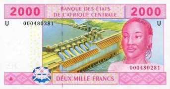 Billete de 2000 F.CA