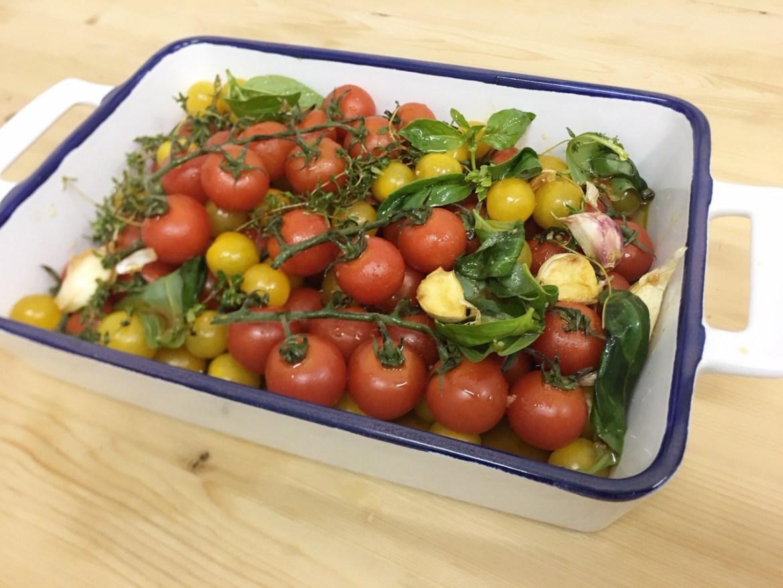 tomates asados frutas nieves