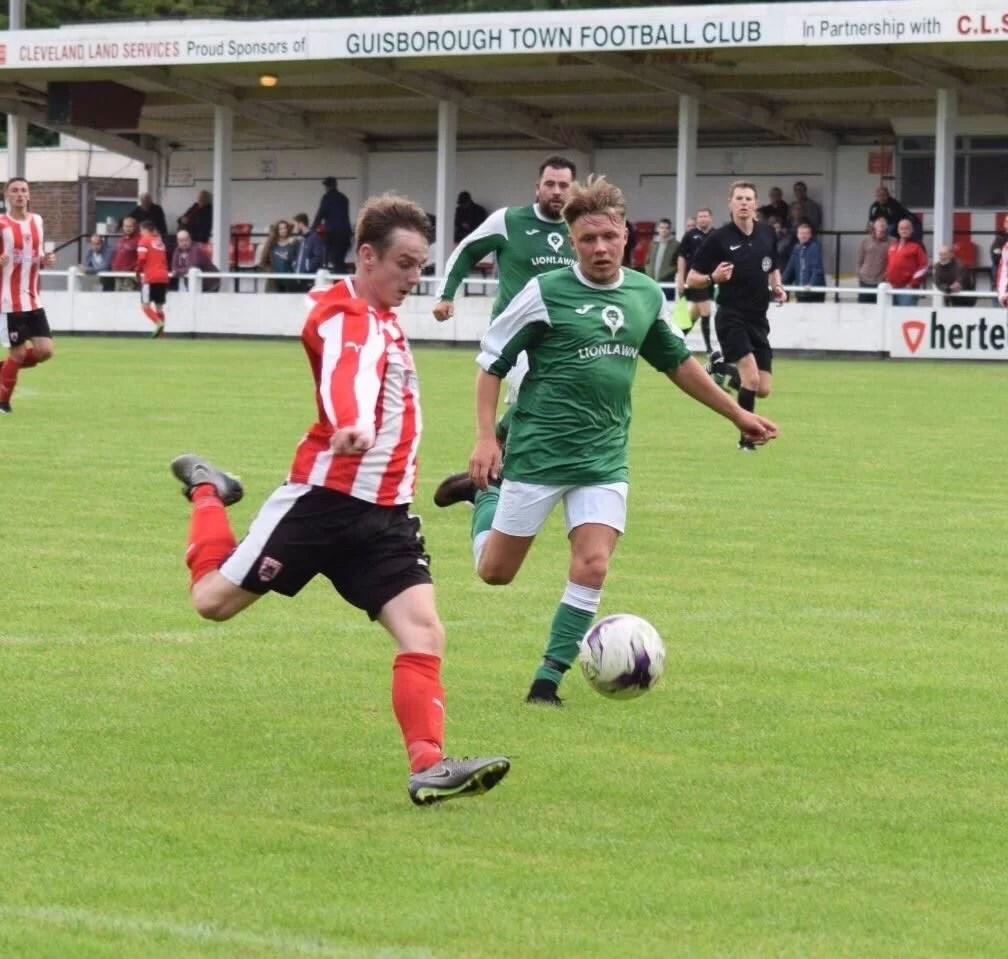 Steve Roberts in action against Guisborough United