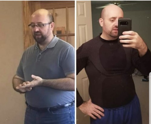 A before and after photo of me