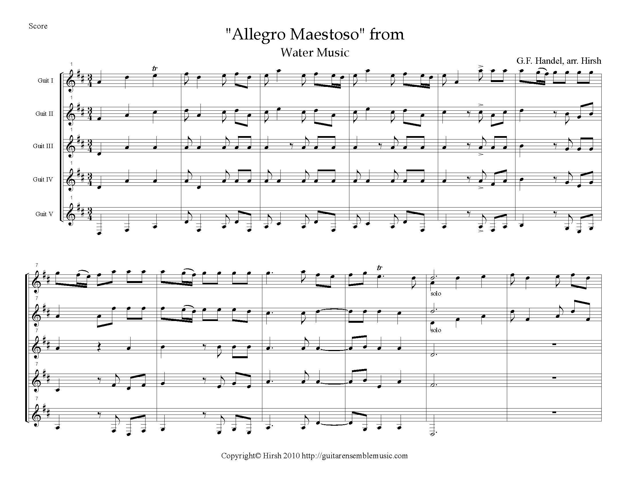 "Allegro Maestoso"" from Water Music by G. F. Handel (M)"