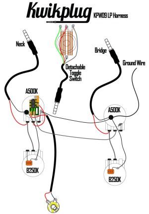 Kwikplug LP 2 HUMBUCKER Wiring Harness PRESOLDERED DropIn