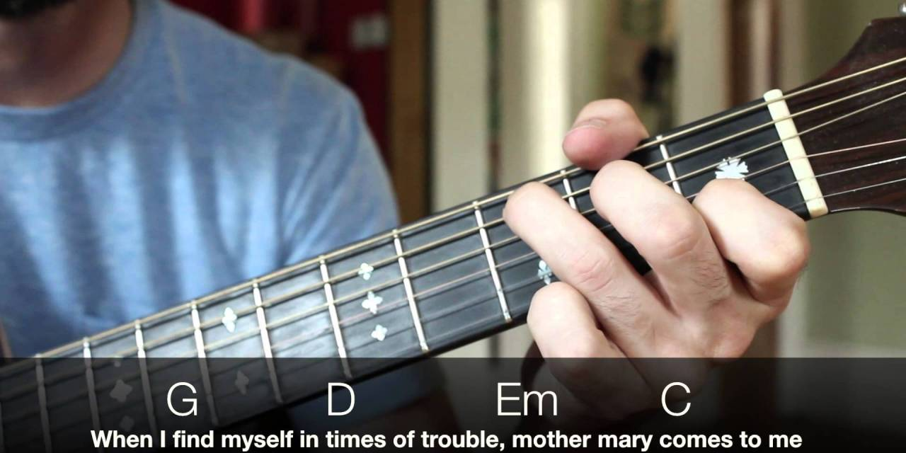 Easy Beginner Guitar Songs The Beatles Let It Be Lesson Chords