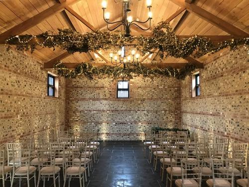 The ceremony layout at the Gathering Barn