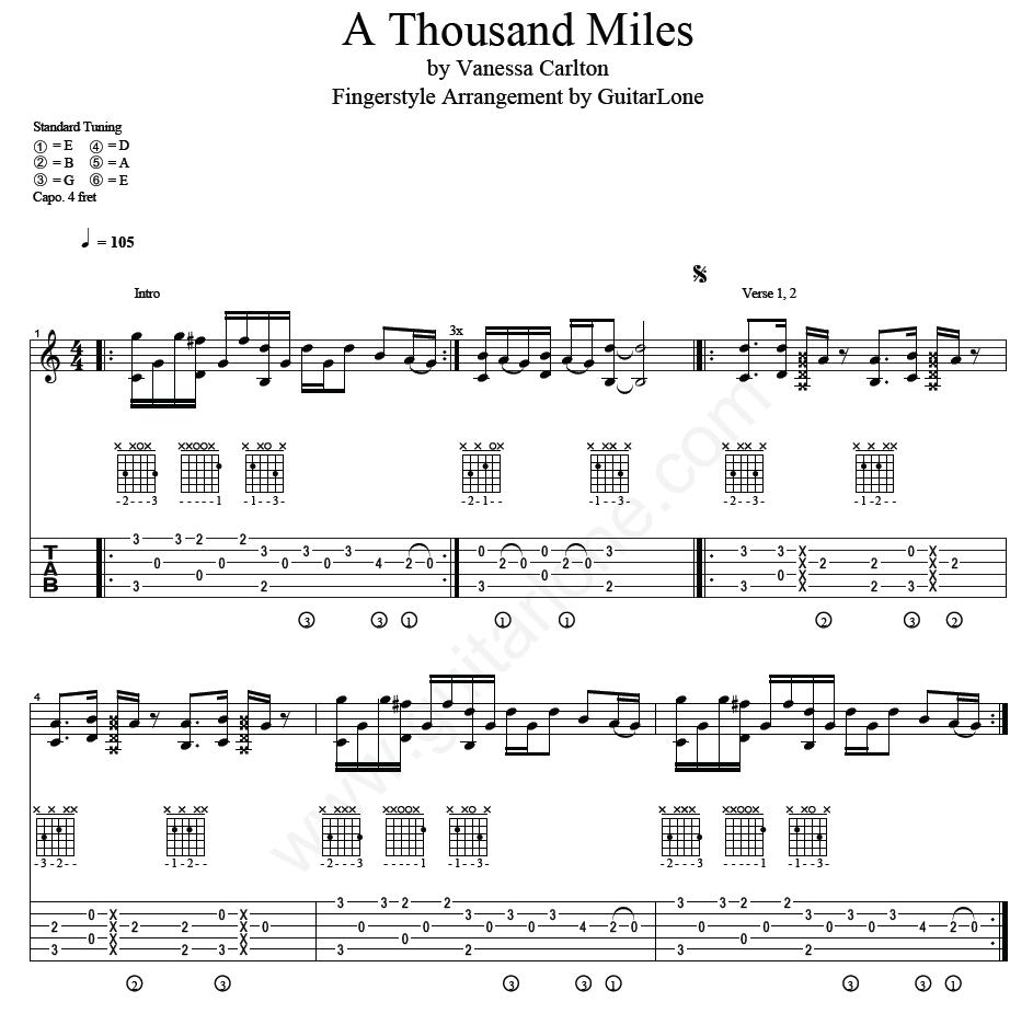 A Thousand Miles Vanessa Carlton Fingerstyle Guitar Tab