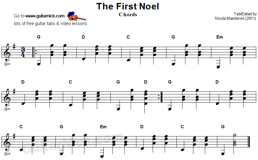 THE FIRST NOEL Guitar Chords