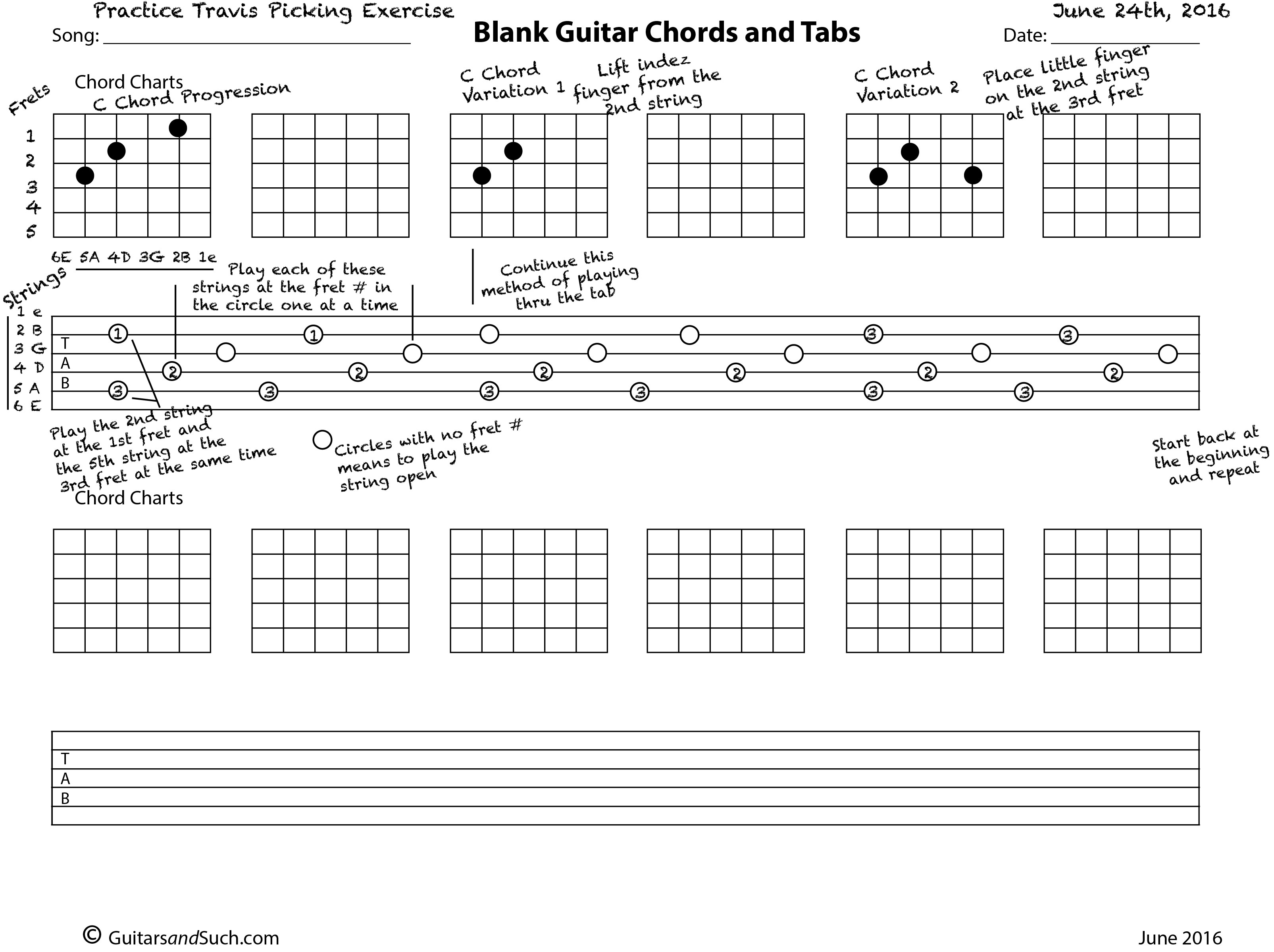 How To Use The Blank Guitar Chord Chart And Tab Template