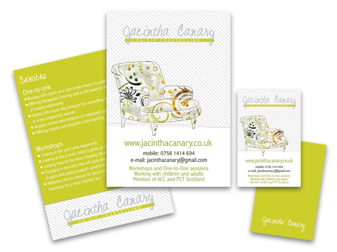 Jacintha Canary - Flyer and Business card