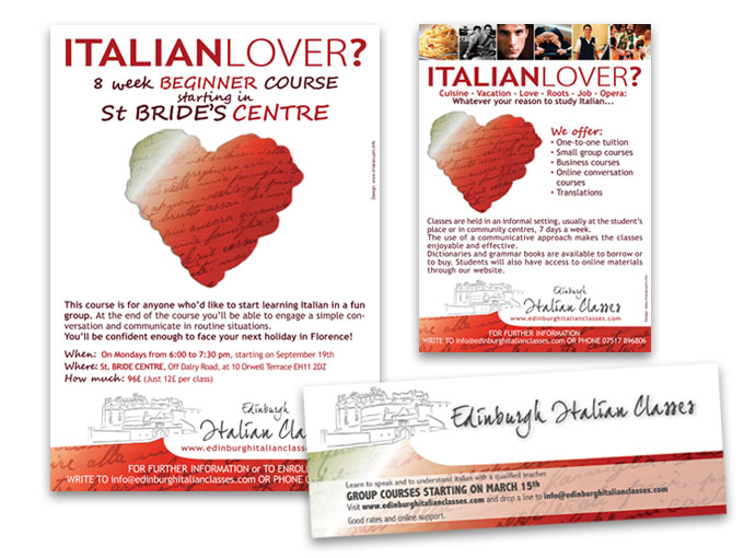 Edinburgh Italian Classes - Flyers