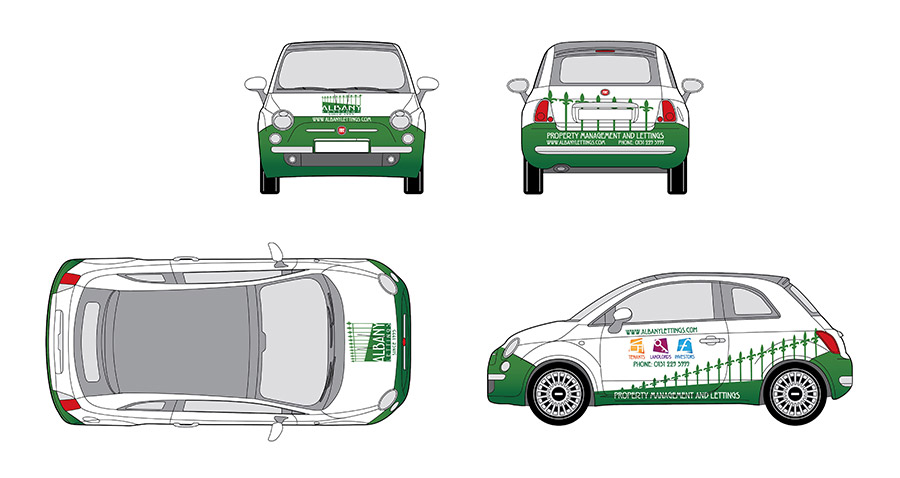 Project for the Fiat 500 livery for Albany Lettings