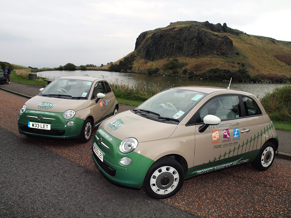 Fiat 500 car livery for Albany Lettings