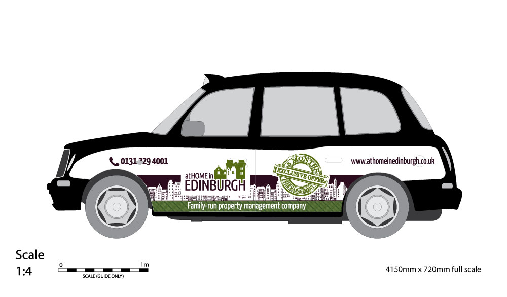 Taxi livery design for At Home in Edinburgh