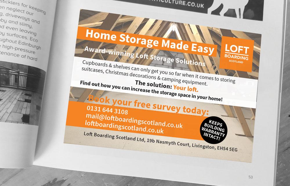 Corporate advertising space design for Loft Boarding Scotland