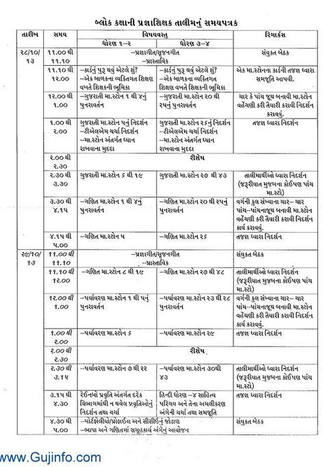 Pragna Talim Time Table