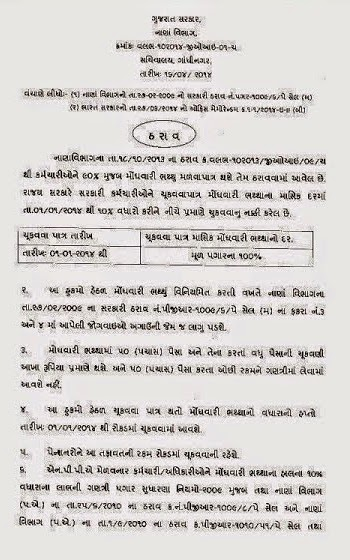 Gujarat Government Employees 10 Percent DA Increase Official Circular