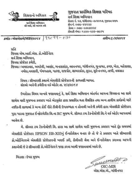 Gujarat Rajy 331 CRC Ma LCD Projector Falavani Karva Babat Circular