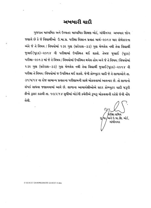 HSC Science Sem 4 Purak Pariksha 2014 Notification