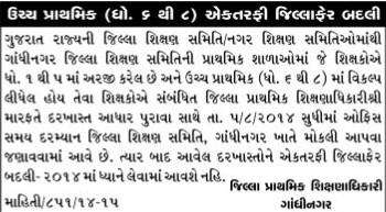 Gandhinagar Uper Primary Ektarafi Jillafer Badli Camp 2014 Notification