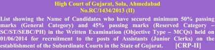 Gujarat High Court Assistant Junior Clerk Results 2014