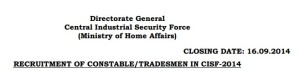 CISF Constable Tradesmen Recruitment 2014