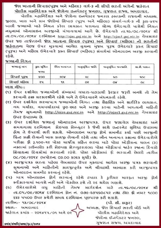 Gujarat Jail Sipahi Recruitment 2014