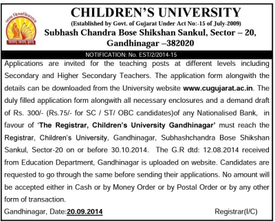 Children University Teacher Recruitment 2014