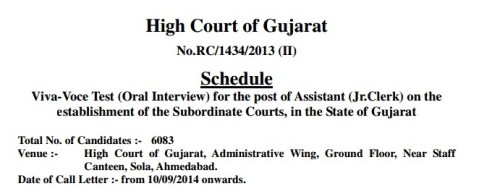 HC Assistant Junior Clerk Interview Call Letter