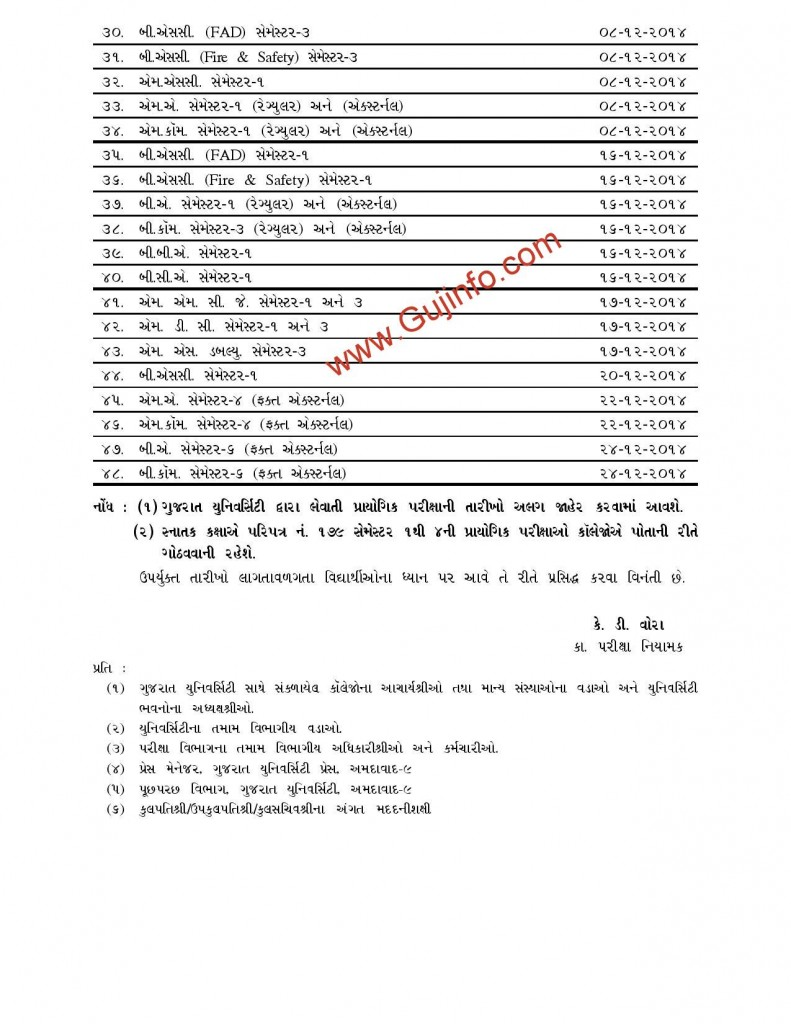 Gujarat University Exam Time Table Nov-Dec 2014