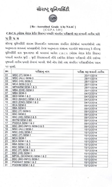 Saurashtra University Exam Time Table 2014