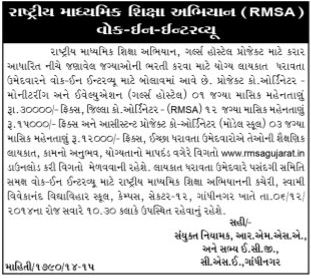 RMSA Gujarat Recruitment 2014