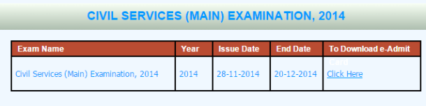 UPSC Civil Services Main 2014 Admit Card