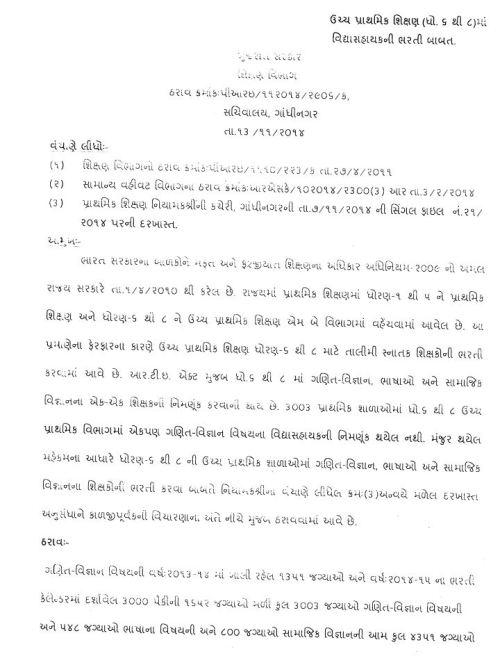 Uper Primary Vidhyasahayak Bharti 2014-15 Karva Babat