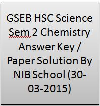 GSEB HSC Science Sem 2 Chemistry Answer Key