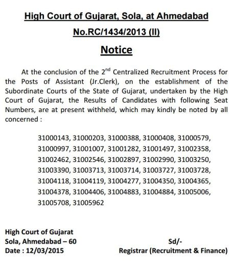 Gujarat High Court Junior Clerk Recruitment Important Notice