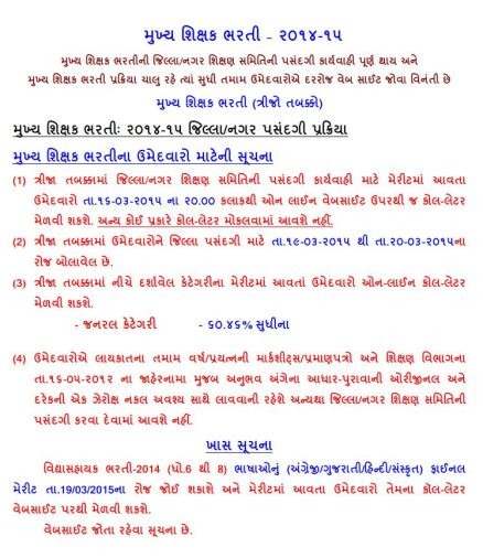 HTAT Direct Bharti Third Round 2014-15