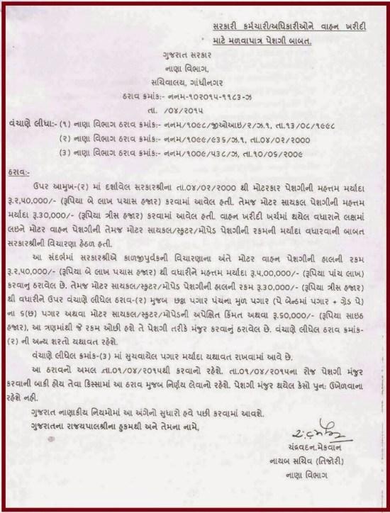 Government Karmchari Vahan-Makan Peshgi Babat