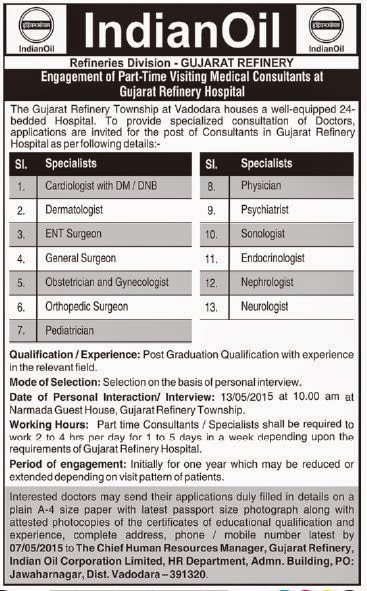 IOCL Walk in Interview for Medical Consultant Specialist