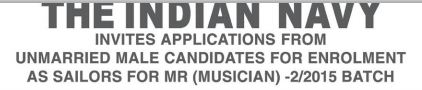 Indian Navy MR (Musician) Recruitment -2/2015 Batch