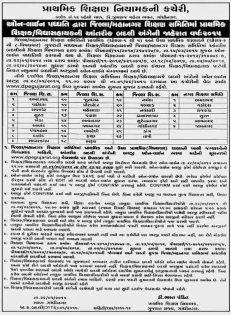 www.dpegujarat.org Online System Teacher Transfer (Badli) 2015