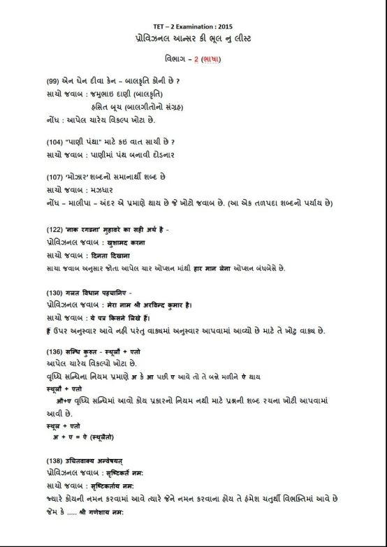 TET 2 Provisional Answer Key 2015 Mistake With Proof