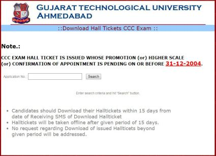 GTU CCC Phase 7 Exam Hall Ticket