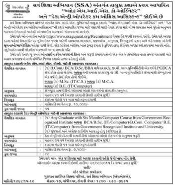 SSA Gujarat Block MIS and DEO Recruitment 2015