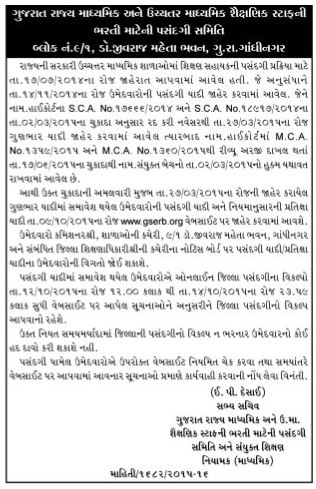 Secondary and Higher Secondary Bharti 2014 Selection List & Waiting List Notification