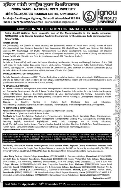 IGNOU Admission Notification for January 2016