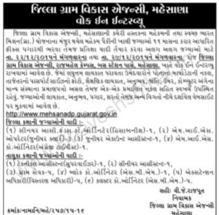 DRDA Mehsana Walk in Interview