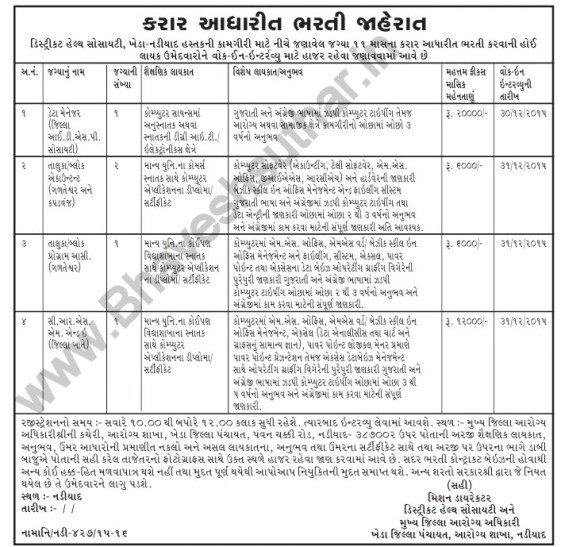 District Health Society Kheda Recruitment 2016