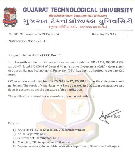 GTU CCC Exam Result Dated 1-12-2015 to 12-12-2015