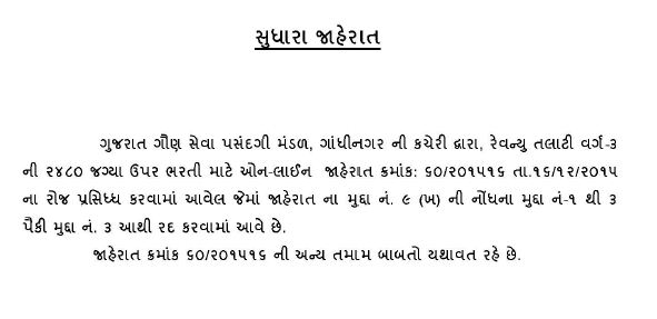 Gujarat Revenue Talati Notification Updated
