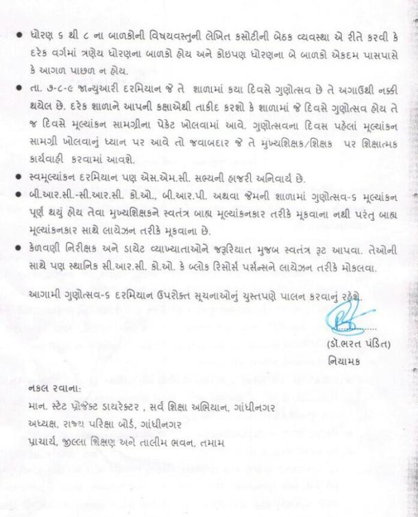 Gunotsav 6 Important instructions