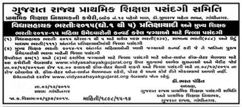 Vidhyasahayak 1 to 5 & HTAT Waiting Round Related Notification